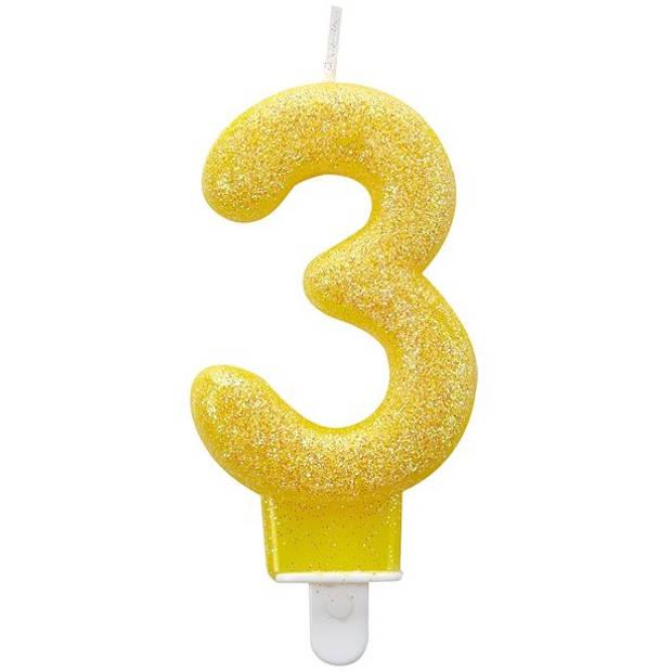 Amscan kaars '3' geel 7 cm