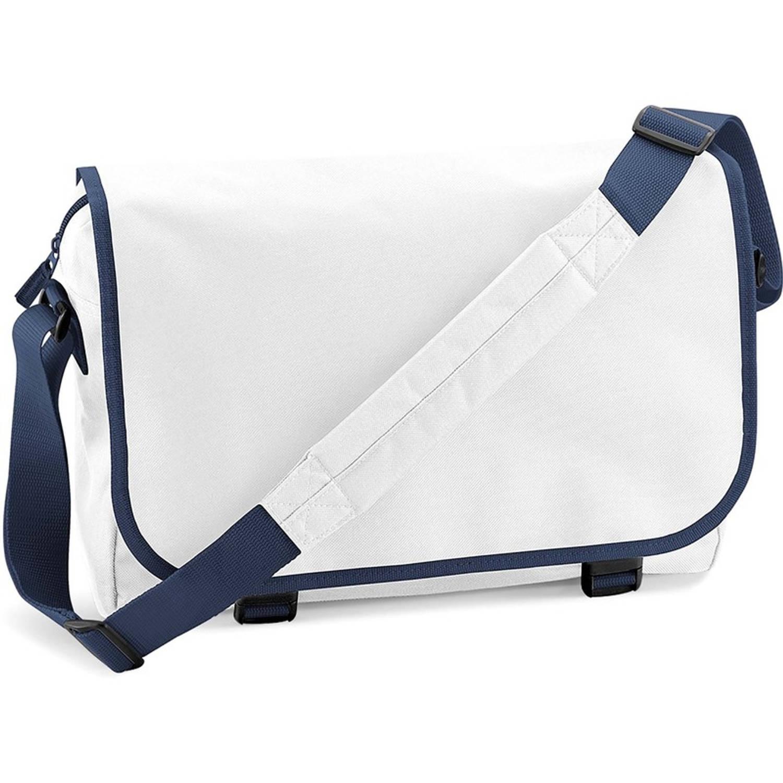 Schoudertas-aktetas wit-navy 41 cm voor dames-heren Schooltassen-laptop tassen met schouderband