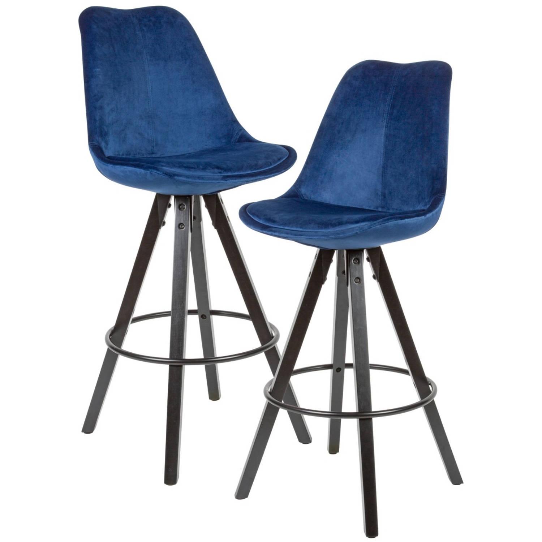24Designs XAM Barkruk Set Van 2 Zithoogte 75 Cm Blauw Fluweel -