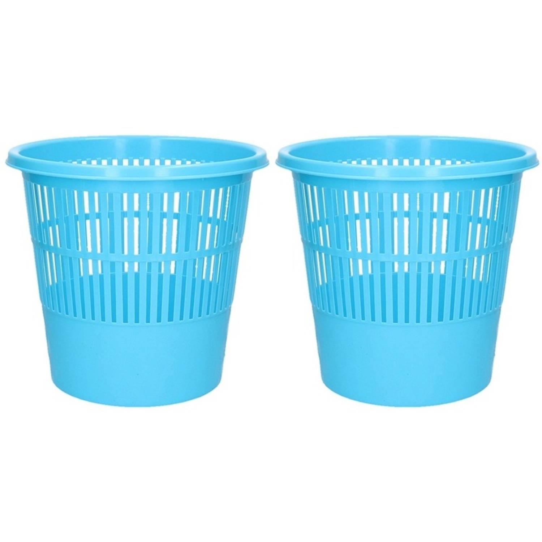 2x Blauwe Vuilnisbakken/prullenbakken 20 Liter - Voordelige Huishoud Prullenbakken/vuilnisbakken/afv
