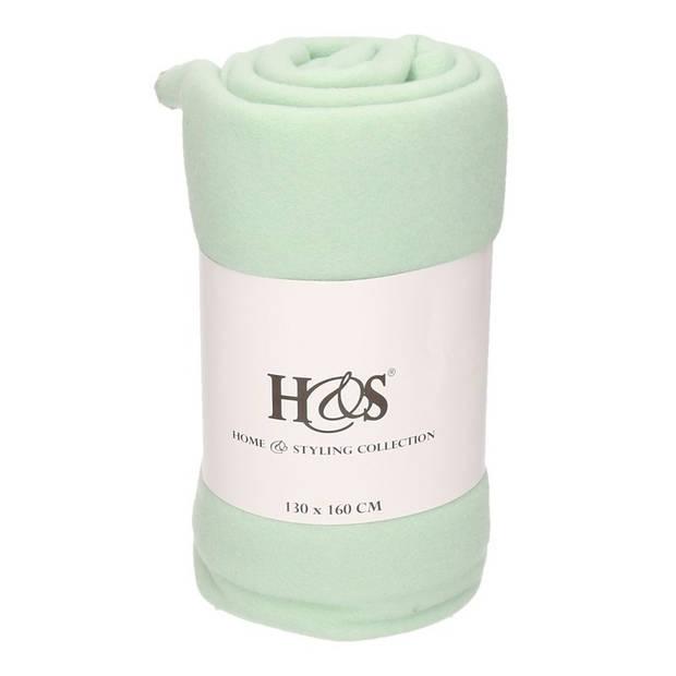 1x Mint groene fleece dekens/kleden - 130 x 160 cm - plaids