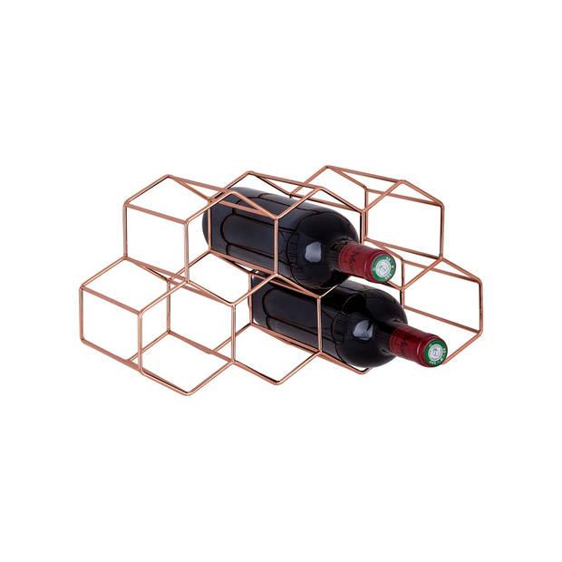 Cosy & Trendy Wijnrek Geo koper - 7 flessen - 37.5 x 15 x 16 cm