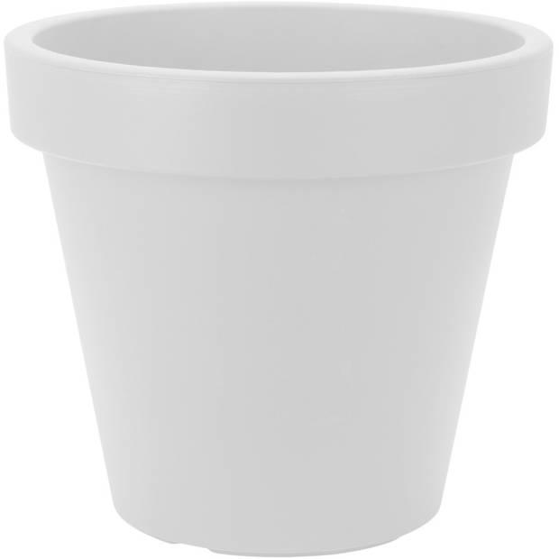 1x Kunststof bloempotten 25 cm witte - Bloempotten/plantenpotten voor binnen en buiten