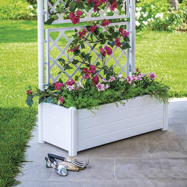 Stefanplast plantenbak 80 liter met klimrek / plantenrek - wit - 100x42x142 cm