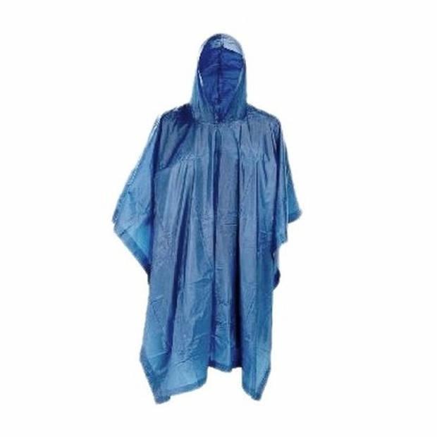 3x Blauwe herbruikbare regenponcho voor volwassenen