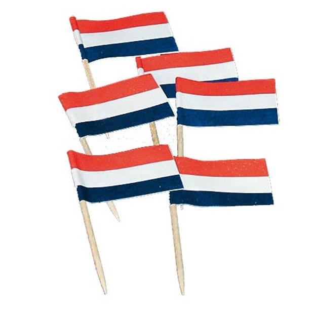 Haza Original vlaggetjes Nederland 50 stuks 6,5 cm rood/wit/blauw