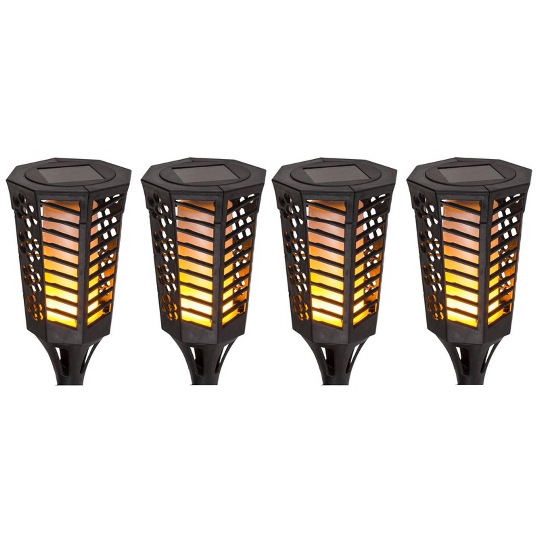 4x Zwarte Solar Tuinfakkels 77 Cm Tuinverlichting tuindecoratie Led Fakkels