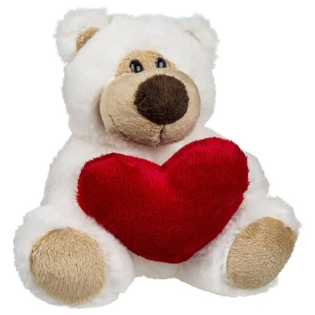 Valentijn pluche knuffelbeertje rood hartje 15 cm - Valentijnsdag decoratie/cadeau