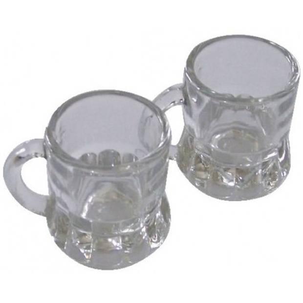 12x Shotglas/borrelglas bierpul glaasjes/glazen met handvat van 2cl - Party glazen