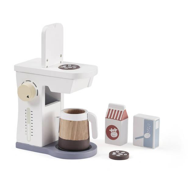 Kid's Concept houten koffieapparaat 18 cm 6-delig wit