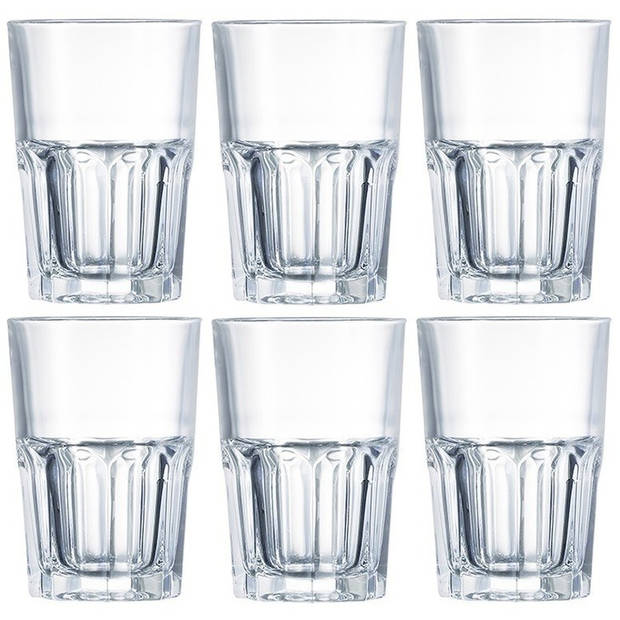 6x Drinkglazen/waterglazen transparant 400 ml - Limonade/sap glas 6 stuks