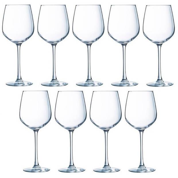 9x Wijnglazen transparant 310 ml - Wijnglas witte wijn op voet 9 stuks