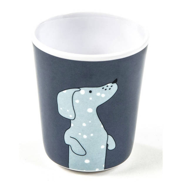 Smallstuff beker hond 8 x 6,5 cm blauw