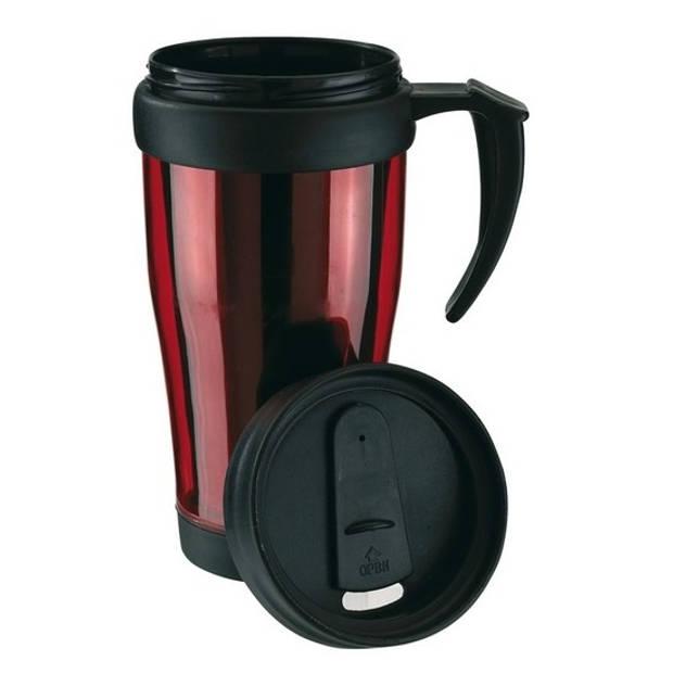 Thermosbeker/warmhoudbeker rood/zwart 400 ml - Thermo koffie/thee bekers dubbelwandig met schroefdop