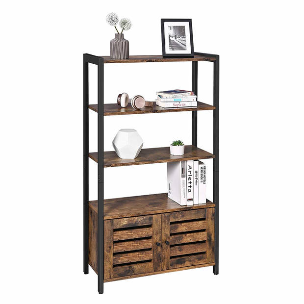 Kast met deuren - boekenkast 3 planken 2 ventilatiedeuren - industrieel - 70x30x121,5