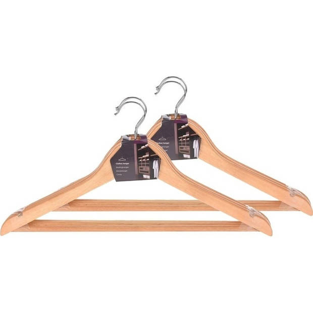 Kledinghangers hout met broeklat - Set van 6 - Kleding ophangen