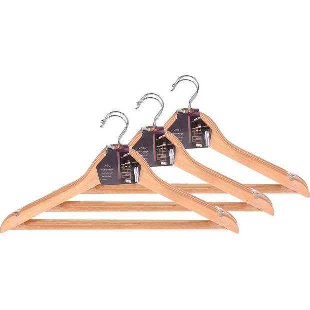 Kledinghangers hout met broeklat - Set van 9 - Kleding ophangen