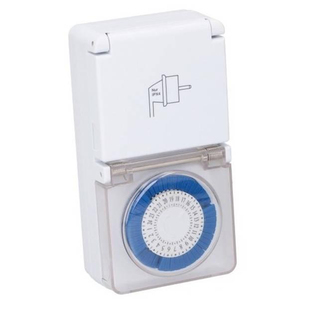 3x Grundig mechanische timer/tijdklok/tijdschakelaar met afdekklepje