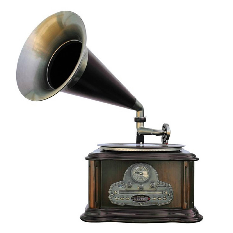 Soundmaster Nr917 Usb Platenspeler 5 In 1 Met Grammofoon Bruin