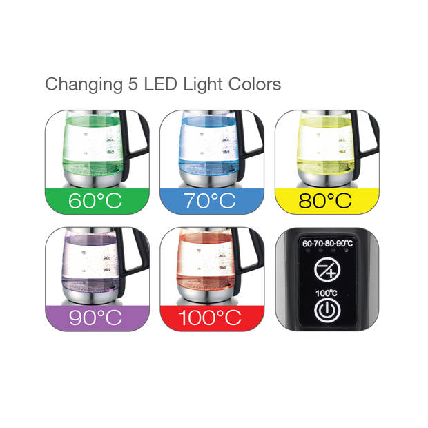 TurboTronic TT-LED07 Waterkoker met instelbare temperatuur en LED-verlichting 1.8 L