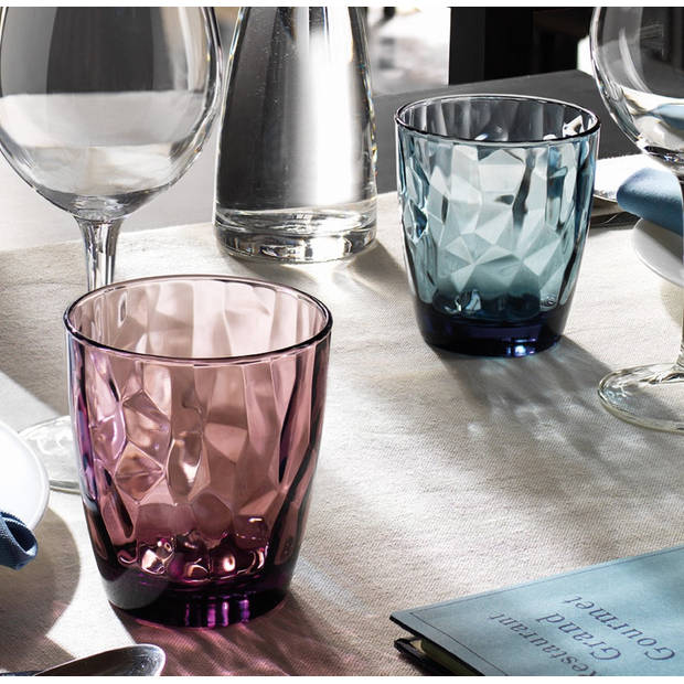 Bormioli Rocco Diamond Water glas - 300 ml - Blauw - Set-6