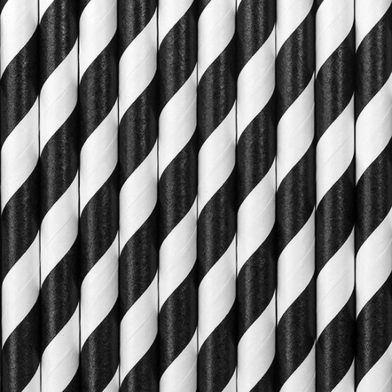 Korting Gestreepte Rietjes Van Papier Zwart wit 10 Stuks