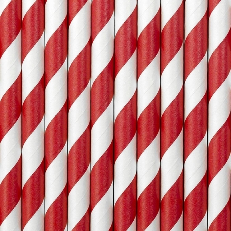 Korting Gestreepte Papieren Rietjes Rood wit 10x Stuks