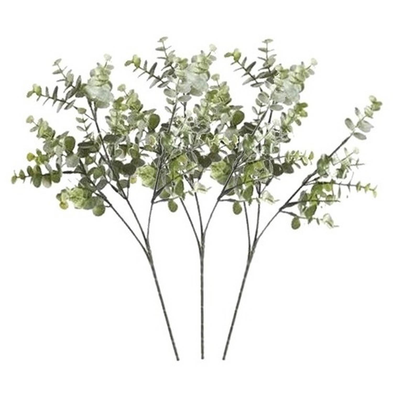 3 X Grijs/groene Eucalyptus Tak 65 Cm - Kunstbloemen