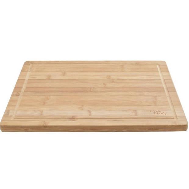 Snijplank bamboe hout rechthoek 42 cm - Snijplanken voor groente, fruit, vlees en vis - Keuken/kookbenodigdheden