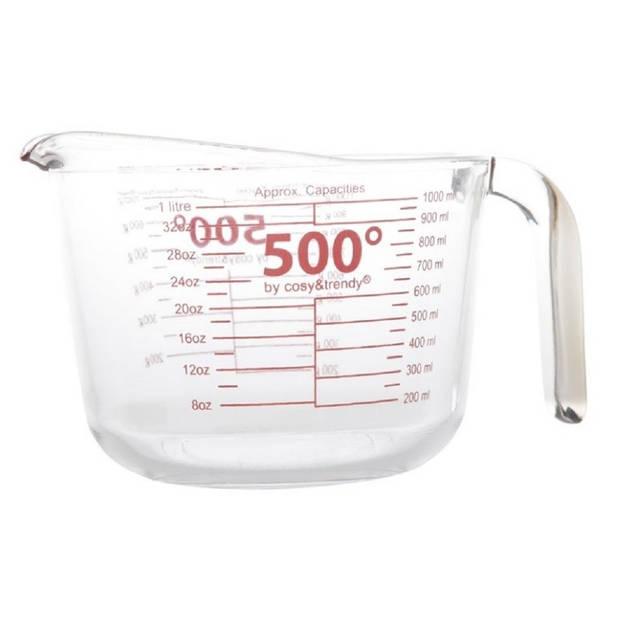 Glazen maatbeker hittebestendig 1 liter - 1000 ml - Keuken/kookbenodigdheden - Maatbekers - Vloeistoffen afmeten