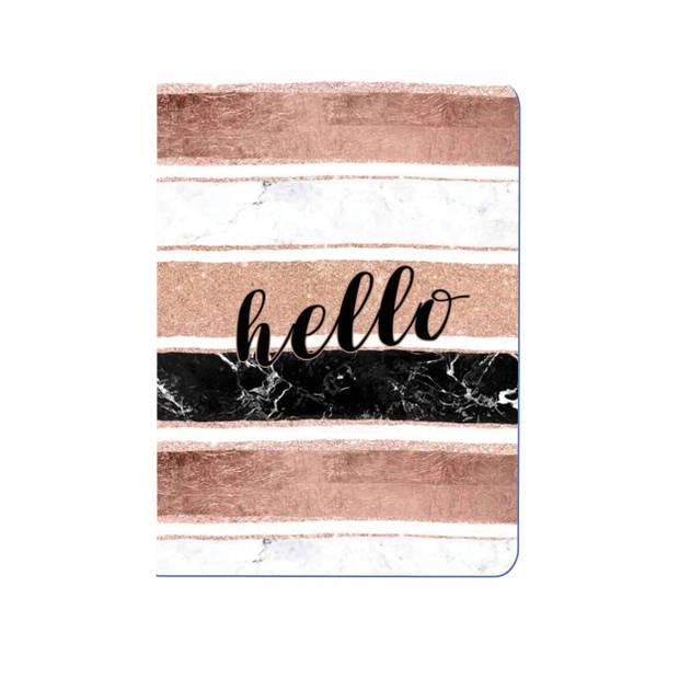 Tesoro schrift hello bruin/wit/zwart 14 cm roze