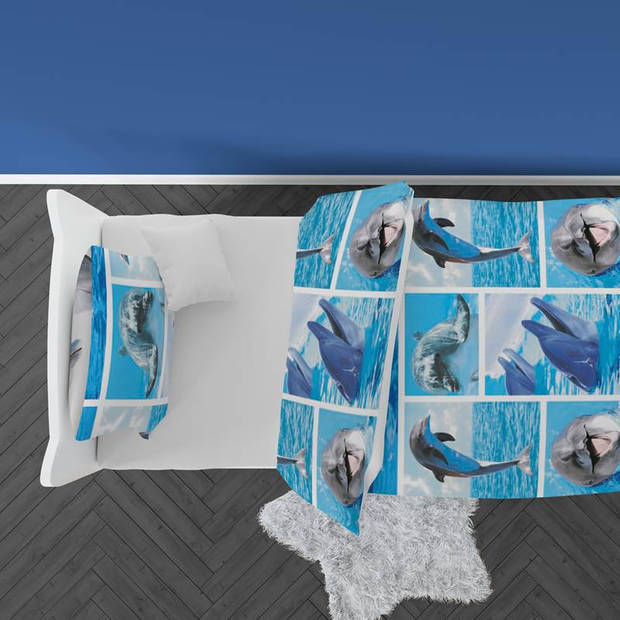 Snoozing Dolphins dekbedovertrek - Katoen - Peuter (120x150 cm + 1 sloop) - Multi