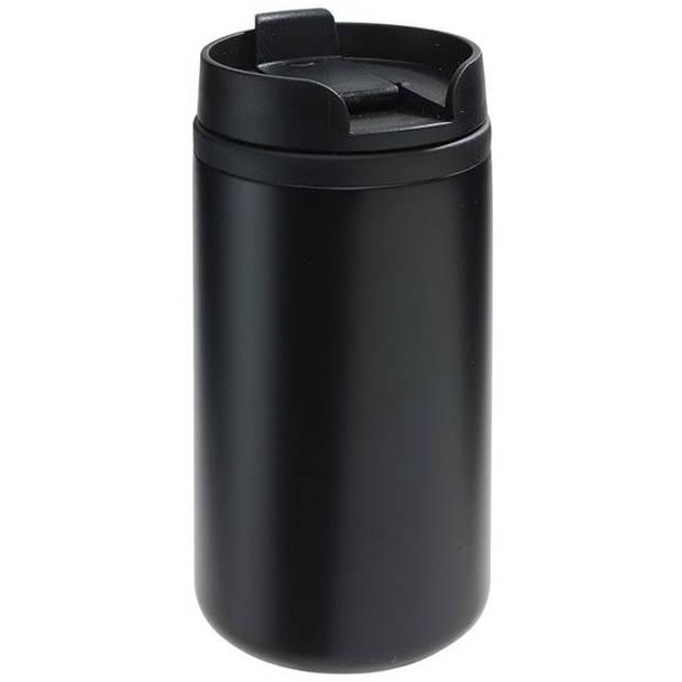 Thermosbeker/warmhoudbeker metallic zwart 290 ml - Thermo koffie/thee isoleerbekers dubbelwandig met schroefdop