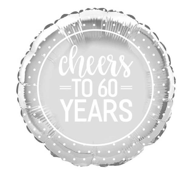 """Haza Original folieballon """"Cheers to 60 years"""" zilver"""