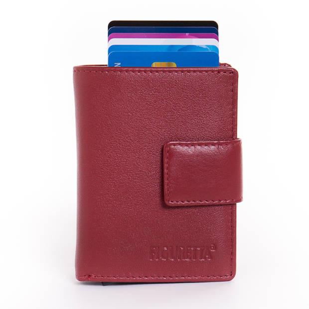 Figuretta Cardprotector Leren Portemonnee met RFID Bescherming Rood