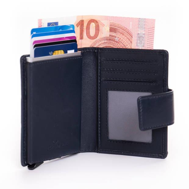 Figuretta Cardprotector Leren Portemonnee met RFID Bescherming Blauw