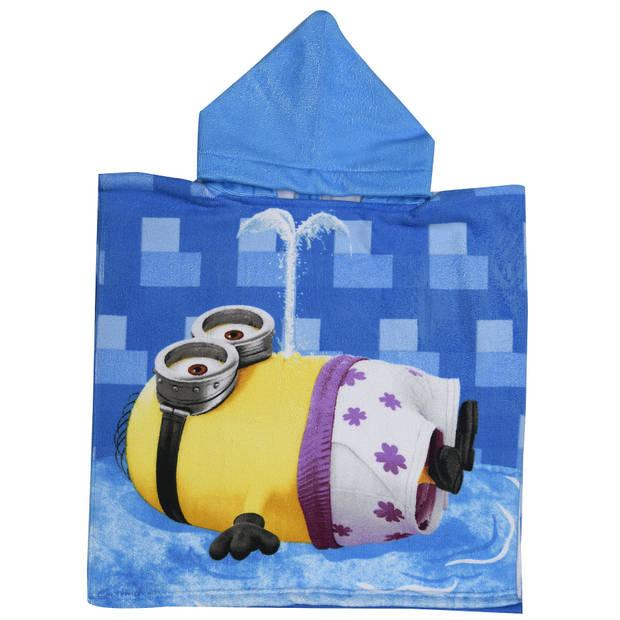 Universal badponcho Summer Minions blauw junior 50 x 100 cm