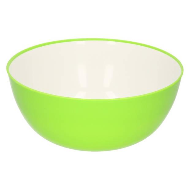 1x Groen/witte slaschaal/serveerschaal 24 cm - Keukenbenodigdheden - Saladeschalen/slaschalen - Schalen voor op tafel