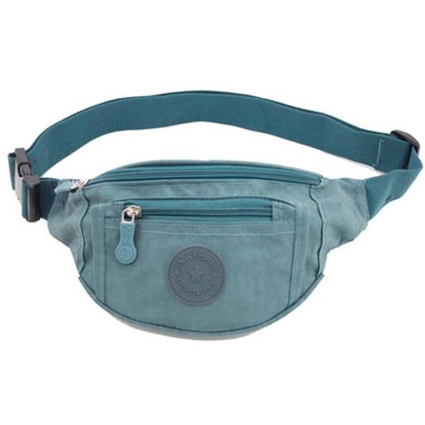 Lichtblauw nylon heuptasje/buideltasje 28 x 15 cm - Blauwe heuptassen/fanny pack voor op reis/onderweg