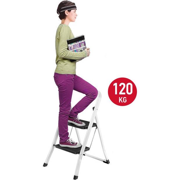 Huishoudtrap Keukentrap - 2 Treden - Huishoudladder Inklapbaar - Trapladder Opvouwbaar - Anti-Slip