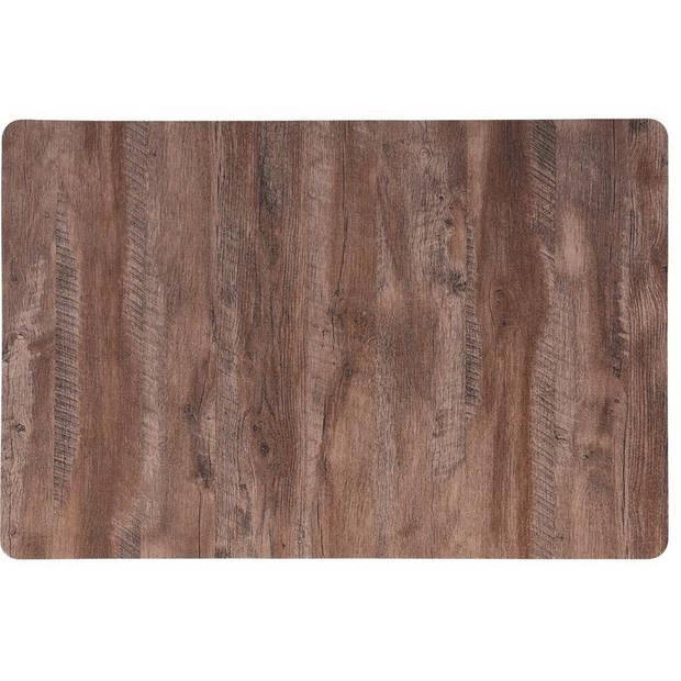 4x Placemat lichtbruine hout print 44 cm - Placemats/onderleggers tafeldecoratie - Tafel dekken