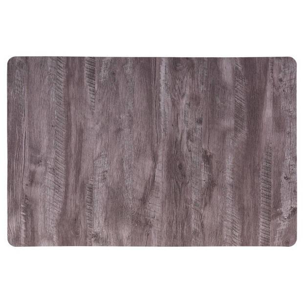 6x Placemat donkerbruine houten vloer print 44 cm - Placemats/onderleggers tafeldecoratie - Tafel dekken