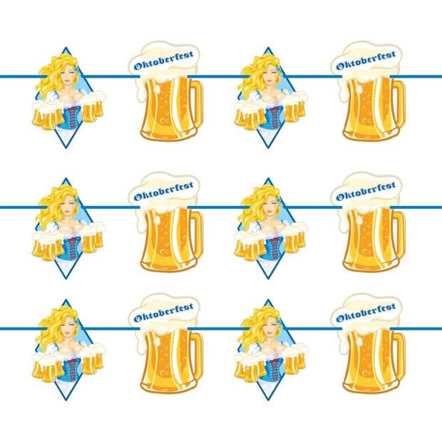 Oktoberfest 3x Oktoberfest/bierfeest slingers met blonde dame 10 meter - Feestartikelen versiering