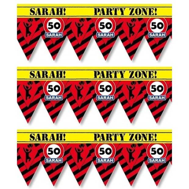 3x 50 Sarah party tape/markeerlinten waarschuwing 12 meter - VerSarahdag afzetlinten/markeerlinten feestartikelen