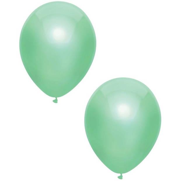 40x Mintgroene metallic ballonnen 30 cm - Feestversiering/decoratie ballonnen mintgroen