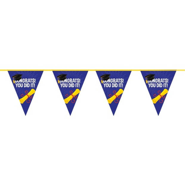 3x Geslaagd/afgestudeerd vlaggenlijnen/slingers 10 meter - Feestartikelen versiering