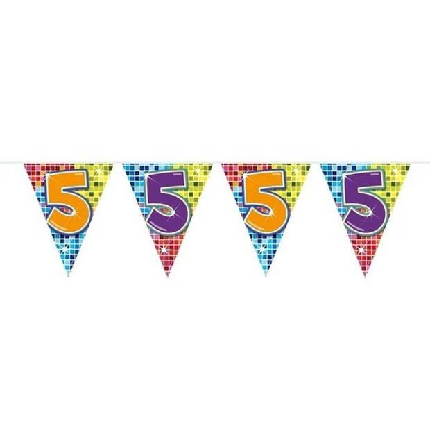 3x Mini vlaggenlijn / slinger - verjaardag 5 jaar - 300 cm