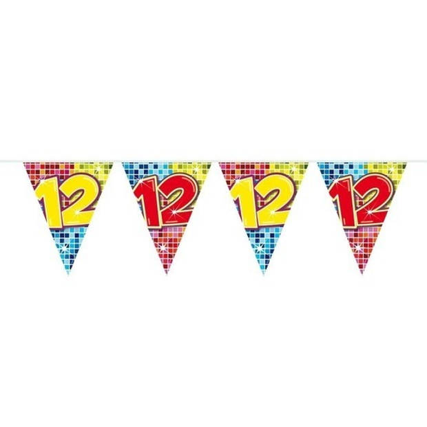 3x Mini vlaggenlijn / slinger - verjaardag 12 jaar - 300 cm