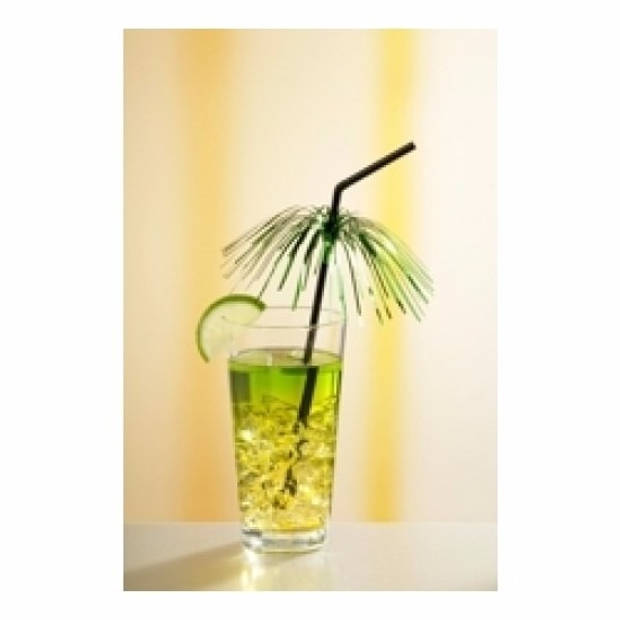 Feestelijke plastic wegwerp cocktail rietjes met palmboom - 8 stuks