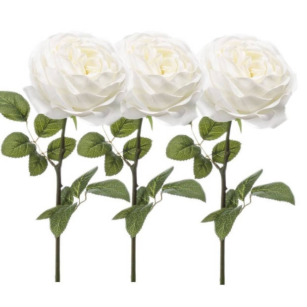 3x Witte rozen kunstbloem 66 cm - Kunstbloemen boeketten